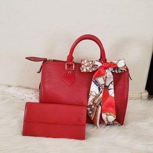🎀 BEAUTIFUL🎀 Louis Vuitton Speedy 25 red epi set
